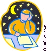 Vector Clipart image  of a student studying