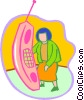 Vector Clipart graphic  of a woman talking on a telephone