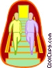 Vector Clip Art image  of a men walking down a flight of