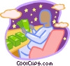 man counting stacks of money Vector Clipart illustration