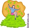 Vector Clip Art picture  of a woman sitting on a pile of