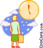 Vector Clip Art graphic  of a woman looking at a clock