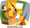 Vector Clipart graphic  of an Artist painting