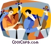 Vector Clipart illustration  of a orchestra warming up