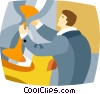 Vector Clipart illustration  of a businessman with an hourglass