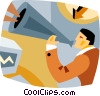 Vector Clip Art graphic  of a man shouting through a