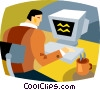 businessman working at his computer Vector Clipart illustration