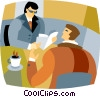 Vector Clip Art graphic  of a businessmen having coffee