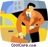 Vector Clipart image  of a businessman late for a meeting