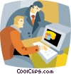 businessmen creating a computer graph Vector Clipart image