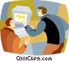 businessmen working at a computer Vector Clipart graphic