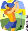 Vector Clipart picture  of a man playing golf