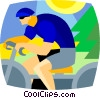 Vector Clip Art graphic  of a cyclist