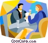 couple having a glass of wine Vector Clip Art picture