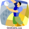 Volleyball player serving the ball Vector Clipart illustration