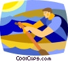 Vector Clipart graphic  of a man rowing a boat