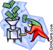 Vector Clipart illustration  of a money grinder