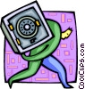 Vector Clipart image  of a thief stealing a vault