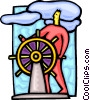 Vector Clip Art graphic  of a captain at the helm
