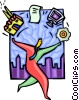 Vector Clip Art graphic  of a man juggling technology