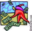 Vector Clip Art image  of a person running after dollar