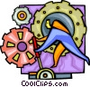 Vector Clipart graphic  of a Man operating the gears of the
