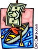 boat with dollar bill sail Vector Clip Art picture