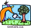 Vector Clip Art image  of a watering the money tree