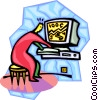 person working on a computer Vector Clip Art graphic