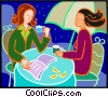 Vector Clip Art graphic  of a women having tea