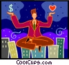 Vector Clip Art graphic  of a businessman weighing love or