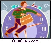 Vector Clipart graphic  of a businessman running against