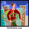 Vector Clip Art graphic  of an archer with a dollar sign bow