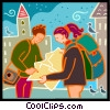 Vector Clipart image  of a tourists looking at a map