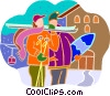 downhill skiers at a ski lodge Vector Clipart picture