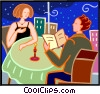 Vector Clip Art image  of a couple out for a romantic