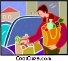 Man with bags of groceries Vector Clipart illustration