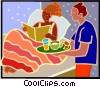 woman being served breakfast in bed Vector Clipart graphic