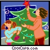 Vector Clip Art image  of a decorating the Christmas tree