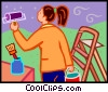 woman painting the walls Vector Clipart picture