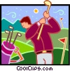 Vector Clipart graphic  of a golfer