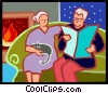 Elderly couple relaxing in front of the fire Vector Clipart picture