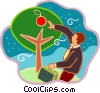 Vector Clipart illustration  of a man picking apples off of the