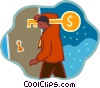 Vector Clipart graphic  of a man with large key