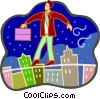businessman walking on a tightrope Vector Clip Art graphic