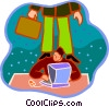 Vector Clipart graphic  of a working on a computer