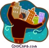 Vector Clip Art graphic  of a cityscapes