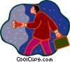 Vector Clipart picture  of a businessman with a flashlight