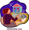 woman working at the computer Vector Clipart illustration
