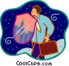 businessman with shield Vector Clip Art image